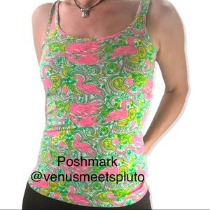 Lily Pulitzer Flamingo Hot Wing Tank Top Sz Small